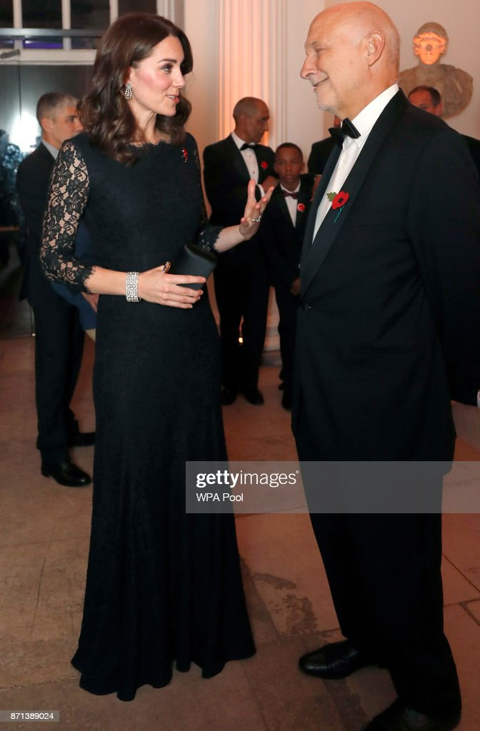 Catherine, Duchess of Cambridge speaks to Peter Fonagy at the 2017 Gala Dinner for The Anna Freud National Centre for Children and Families (AFNCCF) at Kensington Palace on November 7, 2017 in London, England.