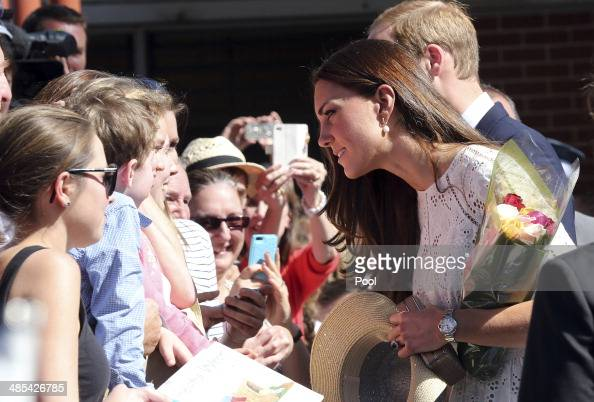 Catherine Duchess of Cambridge speaks with members of the public in the crowd during a visit to the Sydney Royal Easter Show on April 18 2014 in...
