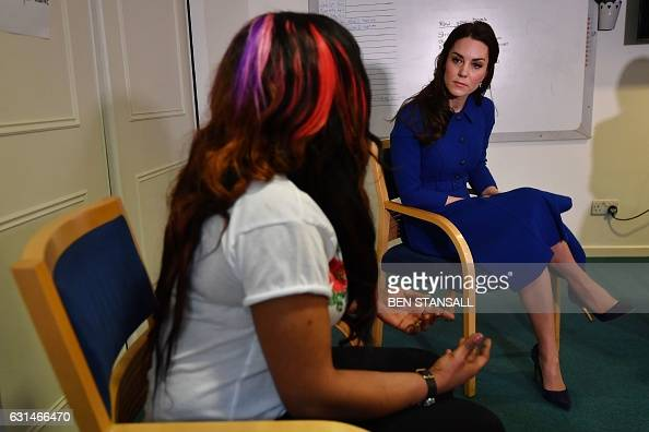 Catherine Duchess of Cambridge speaks with staff and guests at the Early Years Parenting Unit of the Anna Freud National Centre for Children and...