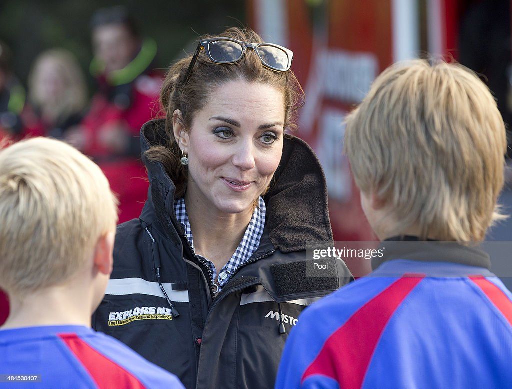 <a gi-track='captionPersonalityLinkClicked' href=/galleries/search?phrase=Catherine+-+Duchess+of+Cambridge&family=editorial&specificpeople=542588 ng-click='$event.stopPropagation()'>Catherine</a> Duchess of Cambridge speaks with students before boarding the Shotover Jet on the Shotover River on April 13, 2014 in Queenstown, New Zealand. The Duke and Duchess of Cambridge are on a three-week tour of Australia and New Zealand, the first official trip overseas with their son, Prince George of Cambridge.