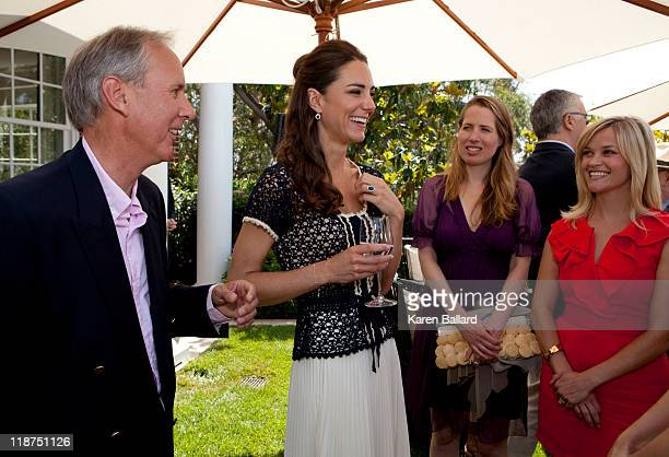 Catherine Duchess of Cambridge speaks with the CEO of Tusk Charlie Mayhew Kristin Gore and Reese Witherspoon during a reception to mark the launch of...
