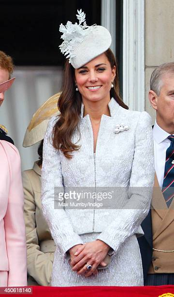 Catherine Duchess of Cambridge stands on the balcony of Buckingham Palace during Trooping the Colour Queen Elizabeth II's Birthday Parade on June 14...
