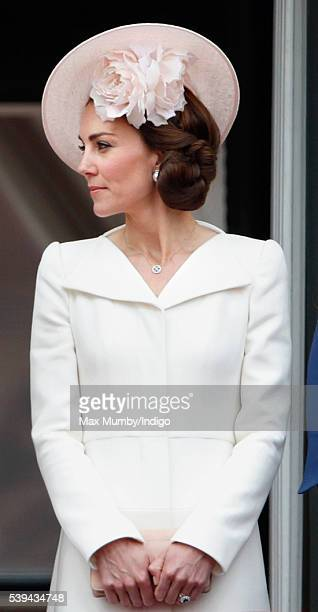 Catherine Duchess of Cambridge stands on the balcony of Buckingham Palace during Trooping the Colour this year marking the Queen's 90th birthday on...