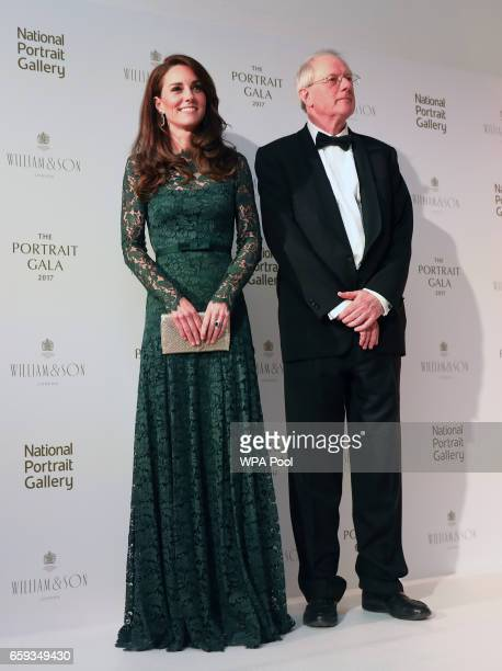 Catherine Duchess of Cambridge stands with Chair of Trustees William Proby at the 2017 Portrait Gala at the National Portrait Gallery on March 28...