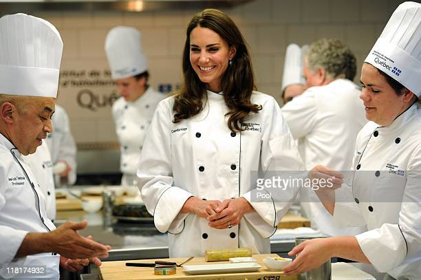 Catherine Duchess of Cambridge takes part in a cooking workshop at the Institut De Tourisme et D'hotellerie Du Quebec on July 2 2011 in Montreal...