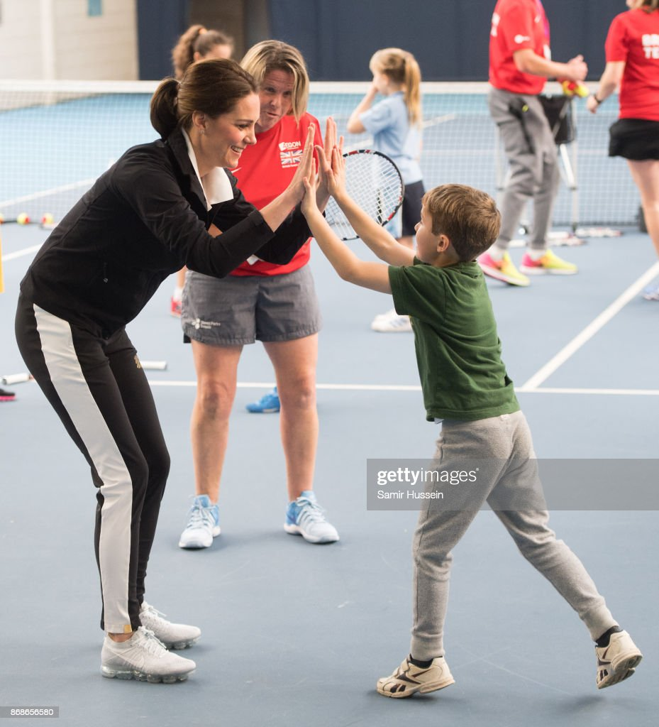 Catherine, Duchess of Cambridge takes part in activities with children as she visits the Lawn Tennis Association at National Tennis Centre on October 31, 2017 in London, England. The Duchess of Cambridge became Patron of the LTA in December 2016.