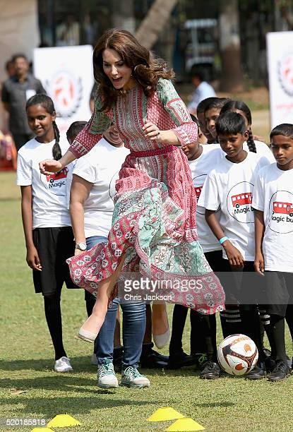 Catherine Duchess of Cambridge takes part in sporting activities with children children from Magic Bus Childline and Doorstep three nongovernmental...