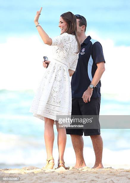 Catherine Duchess of Cambridge talks to a life saver during her visit to Manly Beach on April 18 2014 in Sydney Australia The Duke and Duchess of...
