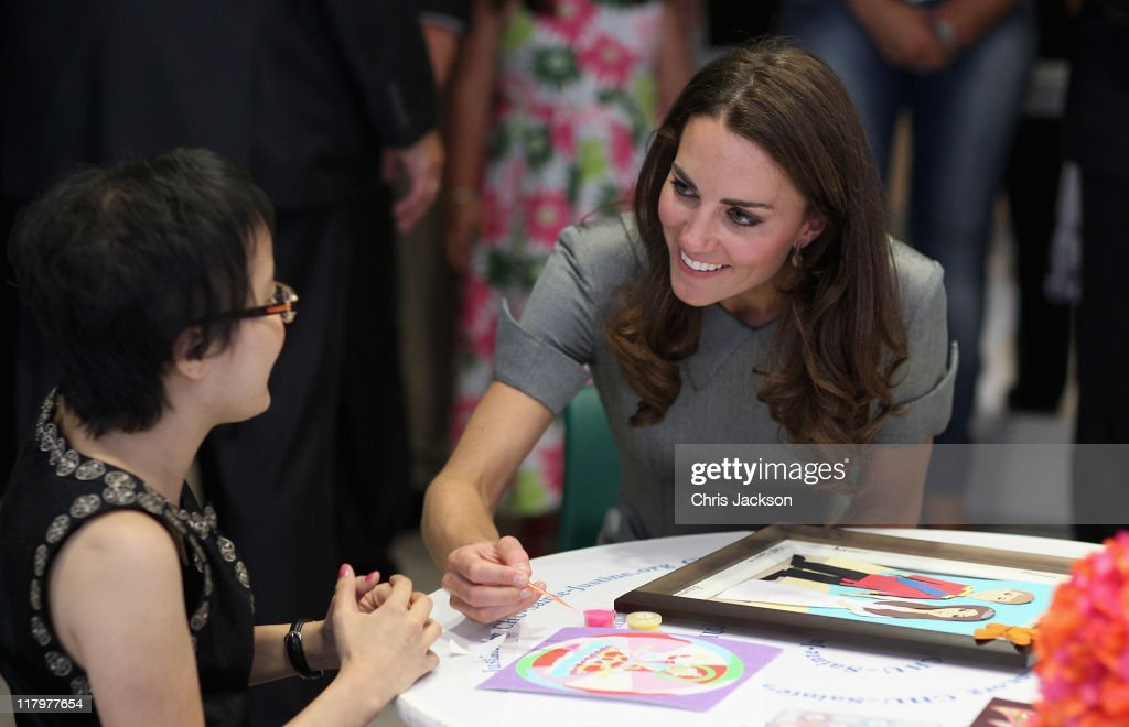 Catherine, Duchess of Cambridge talks to a young girl in a children's cancer ward as she visits Sainte-Justine University Hospital on July 2, 2011 in Montreal, Canada. The newly married Royal Couple are on the third day of their first joint overseas tour. The 12 day visit to North America will take in some of the more remote areas of the country such as Prince Edward Island, Yellowknife and Calgary. The Royal couple yesterday joined millions of Canadians in taking part in Canada Day celebrations which mark Canada's 144th Birthday.
