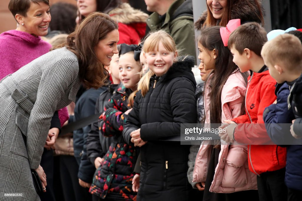 Catherine, Duchess of Cambridge talks to children as she attends a 'Stepping Out' session at Media City on December 6, 2017 in Manchester, England. The session is a focus group where young people are able to give children's television editorial staff and content producers their view of how they respond to new programmes under production.