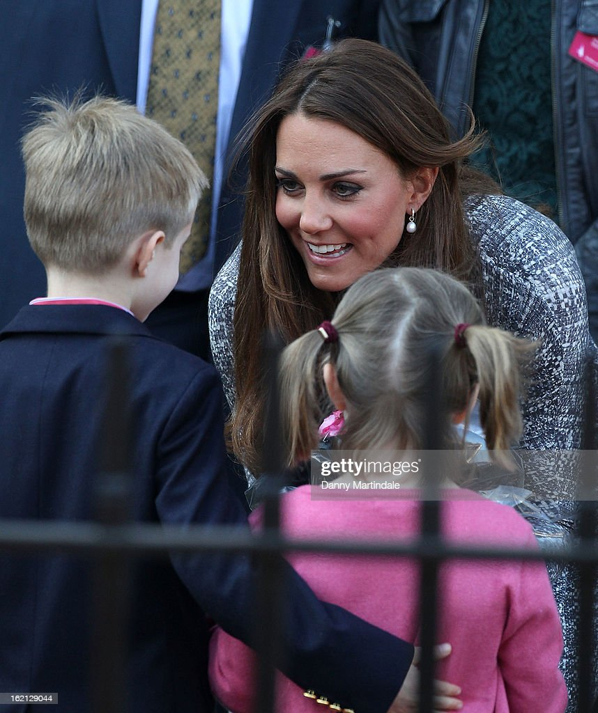 Catherine, Duchess of Cambridge talks to children as she visits Hope House, an Action on Addiction women's treatment centre on February 19, 2013 in London, England.