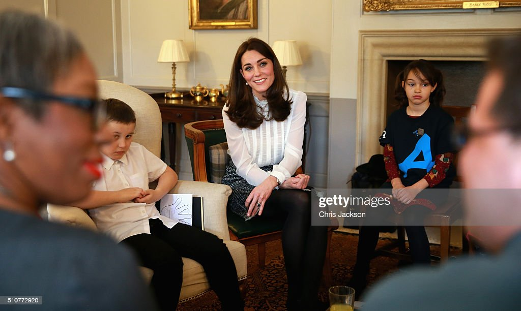 Catherine, Duchess of Cambridge talks to children from the 'Real Truth' video blog that features on the Huffington Post website at Kensington Palace on February 17, 2016 in London, England. The Duchess of Cambridge is supporting the launch of the Huffington Post UK's initiative 'Young Minds Matter' by guest editing the Huffington Post UK today from Kensington Palace.