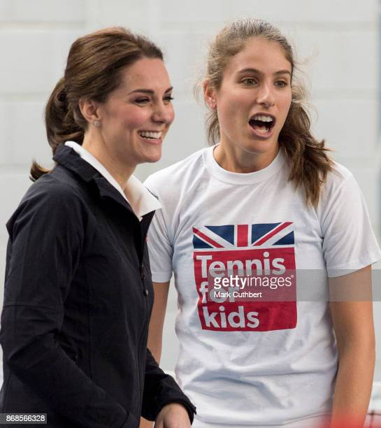 Catherine Duchess of Cambridge talks to Johanna Konta during a visit to the Lawn Tennis Association at National Tennis Centre on October 31 2017 in...