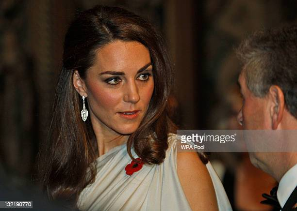 Catherine Duchess of Cambridge talks to people at a reception in aid of the National Memorial Arboretum Appeal at St James's Palace on November 10...