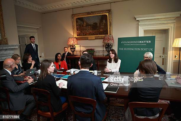 Catherine Duchess of Cambridge talks to Steven Hull on the Huffington Post landing page in the 'News Room' at Kensington Palace on February 17 2016...