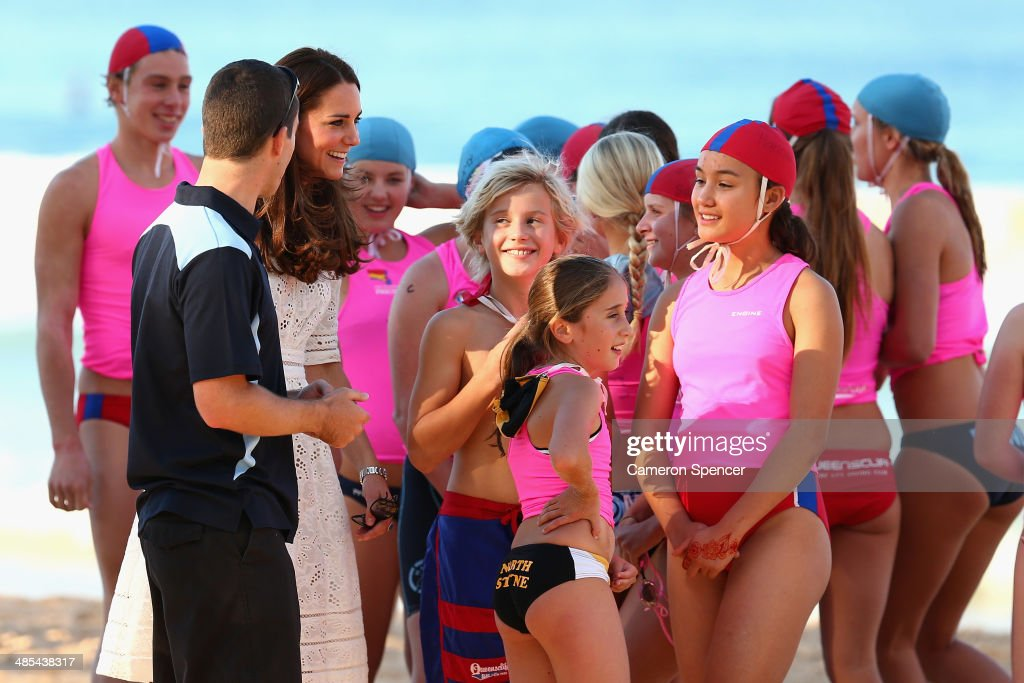 <a gi-track='captionPersonalityLinkClicked' href=/galleries/search?phrase=Catherine+-+Duchess+of+Cambridge&family=editorial&specificpeople=542588 ng-click='$event.stopPropagation()'>Catherine</a>, Duchess of Cambridge talks to surf life-savers at Manly Beach during a surf life-saving presentation on April 18, 2014 in Sydney, Australia. The Duke and Duchess of Cambridge are on a three-week tour of Australia and New Zealand, the first official trip overseas with their son, Prince George of Cambridge.
