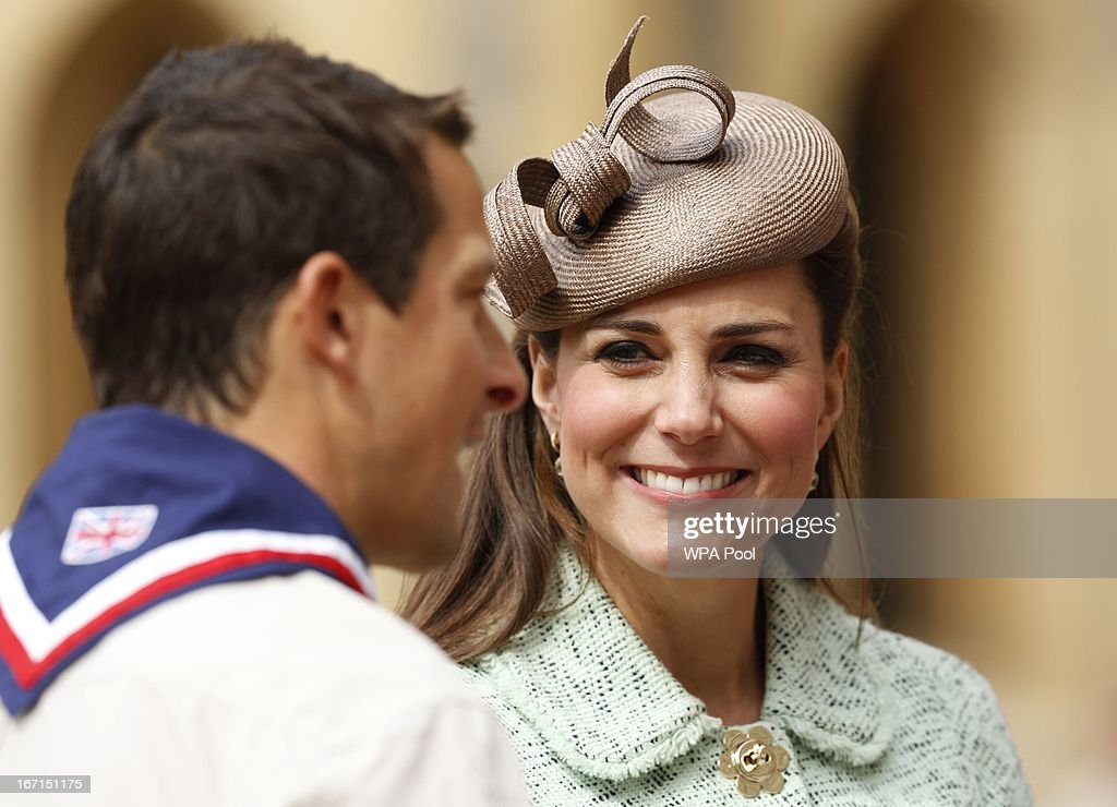 <a gi-track='captionPersonalityLinkClicked' href=/galleries/search?phrase=Catherine+-+Duchess+of+Cambridge&family=editorial&specificpeople=542588 ng-click='$event.stopPropagation()'>Catherine</a>, Duchess of Cambridge talks with Chief Scout <a gi-track='captionPersonalityLinkClicked' href=/galleries/search?phrase=Bear+Grylls&family=editorial&specificpeople=3061585 ng-click='$event.stopPropagation()'>Bear Grylls</a> (L) as she attends the National Review of Queen's Scouts at Windsor Castle on April 21, 2013.