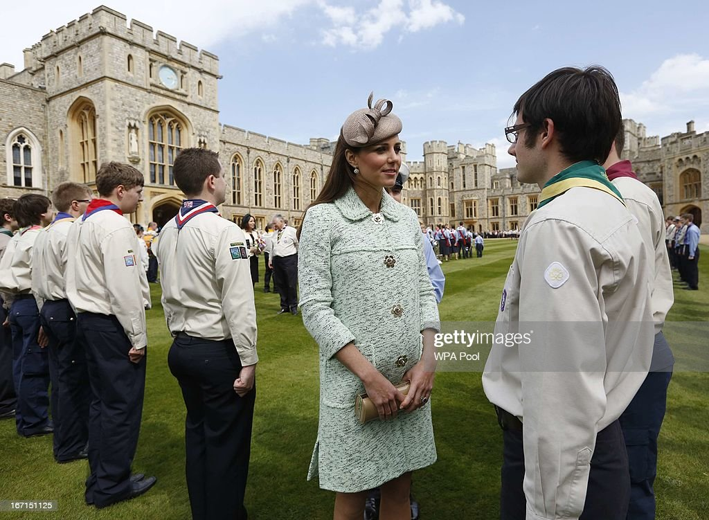<a gi-track='captionPersonalityLinkClicked' href=/galleries/search?phrase=Catherine+-+Duchess+of+Cambridge&family=editorial&specificpeople=542588 ng-click='$event.stopPropagation()'>Catherine</a>, Duchess of Cambridge talks with scouts as she attends the National Review of Queen's Scouts at Windsor Castle on April 21, 2013.
