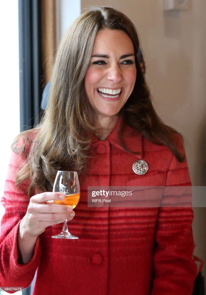 Catherine, Duchess of Cambridge tastes whisky during a tour of The Famous Grouse Distillery on May 29, 2014 in Crieff, Scotland. The Duke and Duchess of Cambridge will spend the day in Scotland where they will tour a distillery and visit a village fete.