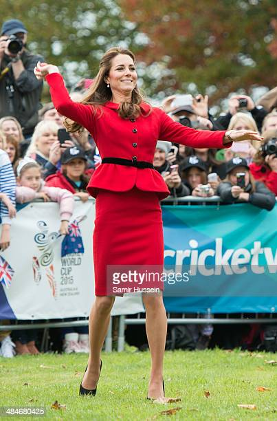 Catherine Duchess of Cambridge throws a ball during a game of cricket in Latimer Square on April 14 2014 in Christchurch New Zealand The Duke and...