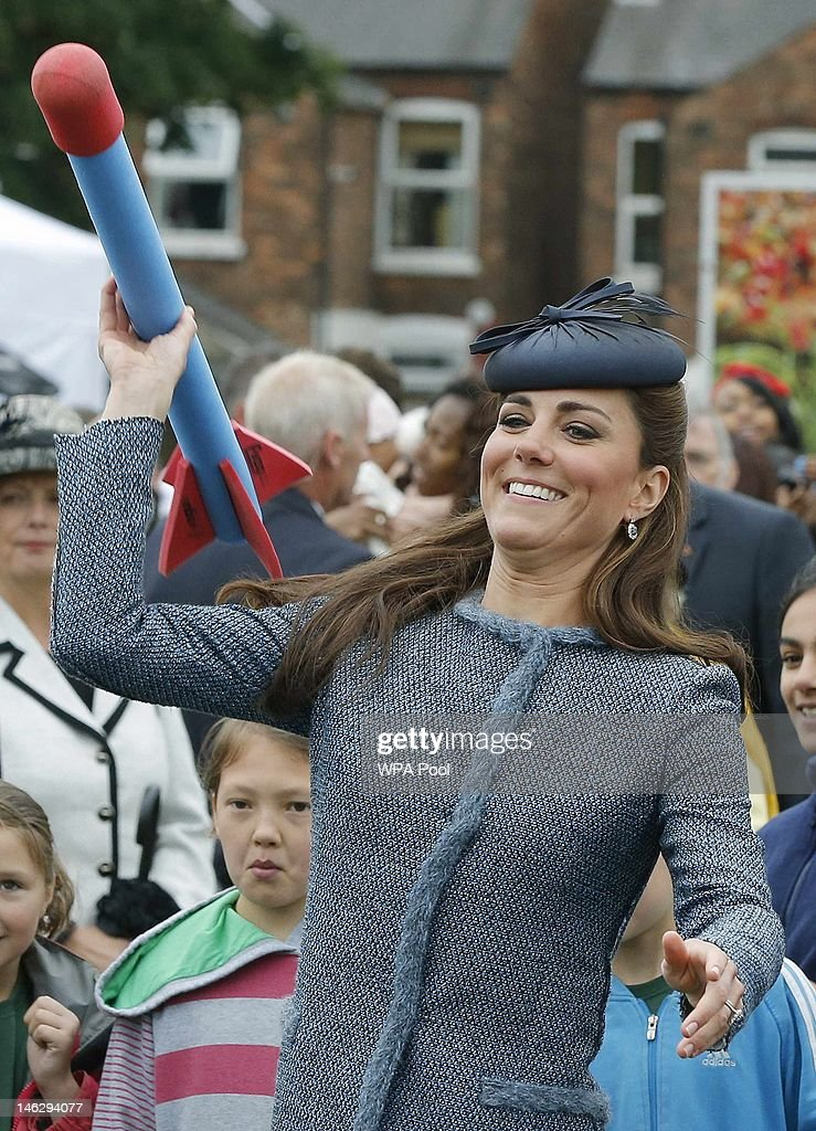 <a gi-track='captionPersonalityLinkClicked' href=/galleries/search?phrase=Catherine+-+Duchess+of+Cambridge&family=editorial&specificpeople=542588 ng-click='$event.stopPropagation()'>Catherine</a>, Duchess of Cambridge throws a foam javelin as part of a children's sports event while visiting Vernon Park during a Diamond Jubilee visit to Nottingham on June 13, 2012 in Nottingham, England.