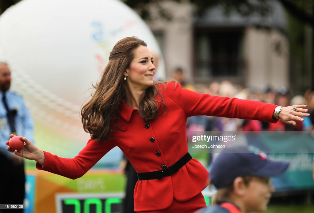 Catherine, Duchess of Cambridge throws a soft cricket ball during a game of cricket during the countdown to the 2015 ICC Cricket World Cup at Latimer Square on April 14, 2014 in Christchurch, New Zealand. The Royal couple are currently in New Zealand and touring the country until Wednesday, when they then head to Australia.