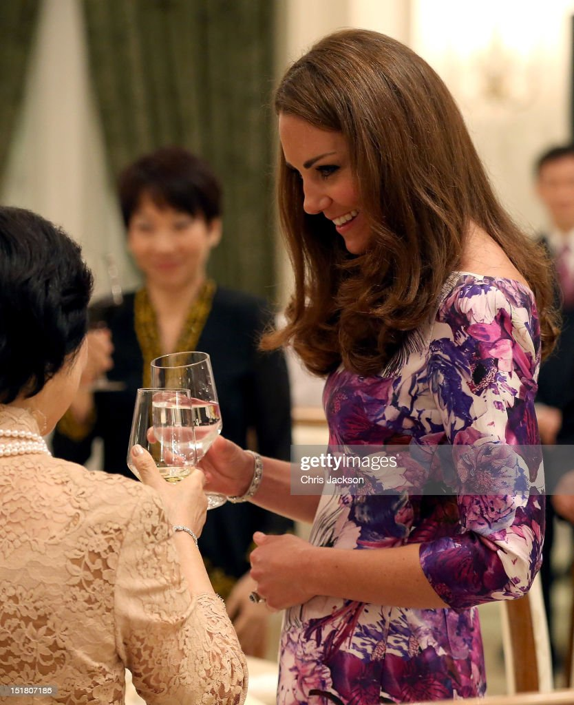 <a gi-track='captionPersonalityLinkClicked' href=/galleries/search?phrase=Catherine+-+Duchess+of+Cambridge&family=editorial&specificpeople=542588 ng-click='$event.stopPropagation()'>Catherine</a>, Duchess of Cambridge toasts President of Singapore's wife Mary Tan at dinner as she visits the Istana on day 1 of their Diamond Jubilee tour on September 11, 2012 in Singapore. Prince William, Duke of Cambridge and <a gi-track='captionPersonalityLinkClicked' href=/galleries/search?phrase=Catherine+-+Duchess+of+Cambridge&family=editorial&specificpeople=542588 ng-click='$event.stopPropagation()'>Catherine</a>, Duchess of Cambridge are on a Diamond Jubilee Tour of the Far East taking in Singapore, Malaysia, the Solomon Islands and the tiny Pacific Island of Tuvalu.