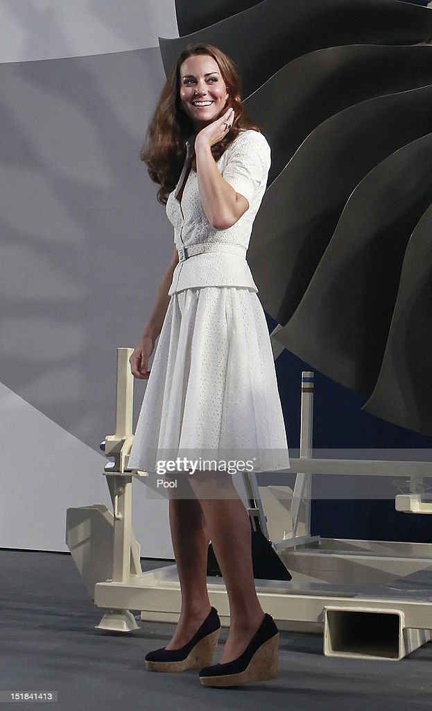 Catherine, Duchess of Cambridge tours the Rolls-Royce Seletar Campus during the Diamond Jubilee tour at Seletar Aerospace Park on September 12, 2012 in Singapore.