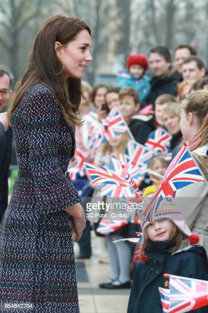 Catherine Duchess of Cambridge visits a 'Les Voisins in Action' event highlighting the strong ties between the young people of France and the UK at...