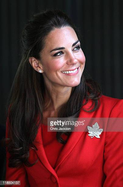 Catherine Duchess of Cambridge visits a reception at Calgary Zoo on July 8 2011 in Calgary Canada The newly married Royal Couple are on the ninth day...