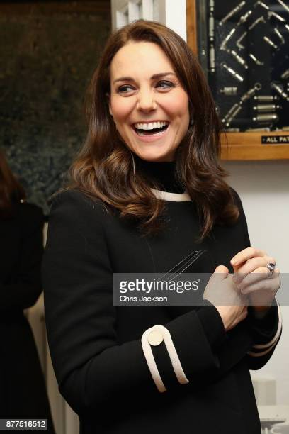 Catherine Duchess of Cambridge visits Acme Whistles in Birmingham on November 22 2017 in Birmingham England