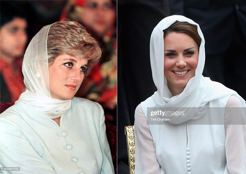 In this composite image a comparison has been made between <a gi-track='captionPersonalityLinkClicked' href=/galleries/search?phrase=Princess+Diana&family=editorial&specificpeople=167066 ng-click='$event.stopPropagation()'>Princess Diana</a> (L) and <a gi-track='captionPersonalityLinkClicked' href=/galleries/search?phrase=Catherine+-+Duchess+of+Cambridge&family=editorial&specificpeople=542588 ng-click='$event.stopPropagation()'>Catherine</a>, Duchess of Cambridge (R). <a gi-track='captionPersonalityLinkClicked' href=/galleries/search?phrase=Catherine+-+Duchess+of+Cambridge&family=editorial&specificpeople=542588 ng-click='$event.stopPropagation()'>Catherine</a> donned a headscarf and outfit in Kuala Lumpur similar in style to <a gi-track='captionPersonalityLinkClicked' href=/galleries/search?phrase=Princess+Diana&family=editorial&specificpeople=167066 ng-click='$event.stopPropagation()'>Princess Diana</a> on a visit to Pakistan in 1996 (LEFT IMAGE) LAHORE, PAKISTAN - JUNE 22: <a gi-track='captionPersonalityLinkClicked' href=/galleries/search?phrase=Princess+Diana&family=editorial&specificpeople=167066 ng-click='$event.stopPropagation()'>Princess Diana</a> At Shaukat Khanum Hospital In Lahore, Pakistan. (Photo by Tim Graham/Getty Images) (RIGHT IMAGE) KUALA LUMPUR, MALAYSIA - SEPTEMBER 14: <a gi-track='captionPersonalityLinkClicked' href=/galleries/search?phrase=Catherine+-+Duchess+of+Cambridge&family=editorial&specificpeople=542588 ng-click='$event.stopPropagation()'>Catherine</a>, Duchess of Cambridge visits Assyakirin Mosque on day 4 of Prince William, Duke of Cambridge and <a gi-track='captionPersonalityLinkClicked' href=/galleries/search?phrase=Catherine+-+Duchess+of+Cambridge&family=editorial&specificpeople=542588 ng-click='$event.stopPropagation()'>Catherine</a>, Duchess of Cambridge's Diamond Jubilee Tour of the Far East on September 14, 2012 in Kuala Lumpur, Malaysia.