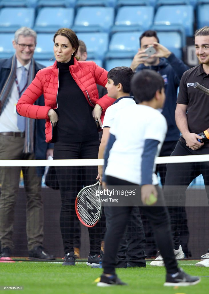 Catherine, Duchess of Cambridge visits Aston Villa Football Club to see the work of the Coach Core programme taking place in Birmingham on November 22, 2017 in Birmingham, England.