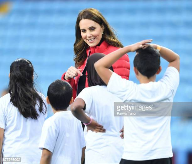 Catherine Duchess of Cambridge visits Aston Villa Football Club to see the work of the Coach Core programme on November 22 2017 in Birmingham England