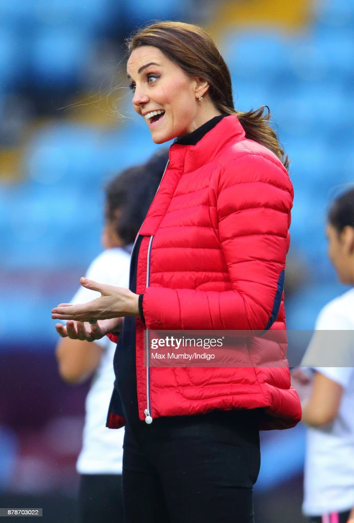 Catherine, Duchess of Cambridge visits Aston Villa Football Club to see the work of the Coach Core programme on November 22, 2017 in Birmingham, England.