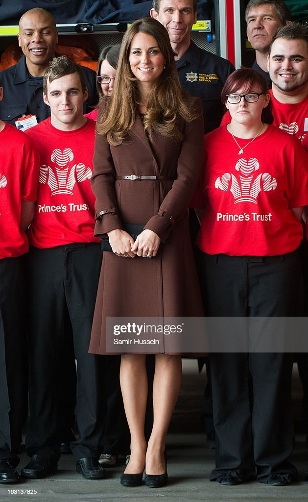 Catherine, Duchess of Cambridge visits Humberside Fire and Rescue during an official visit to Grimsby on March 5, 2013 in Grimsby, England.