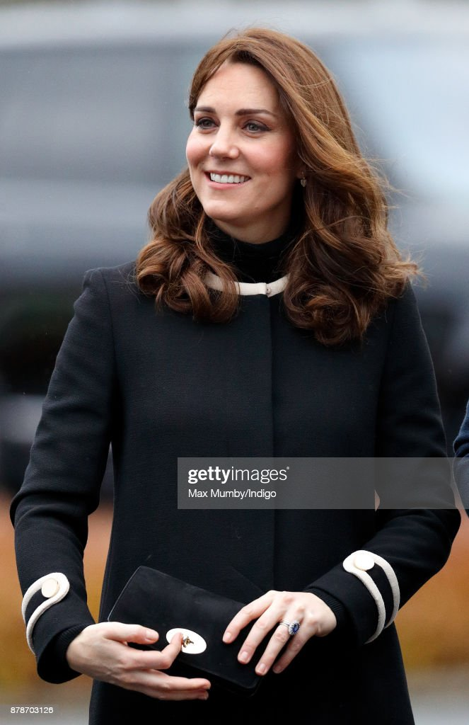 Catherine, Duchess of Cambridge visits Jaguar Land Rover's Solihull manufacturing plant on November 22, 2017 in Birmingham, England.