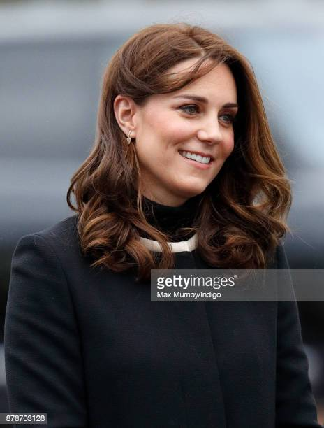 Catherine Duchess of Cambridge visits Jaguar Land Rover's Solihull manufacturing plant on November 22 2017 in Birmingham England