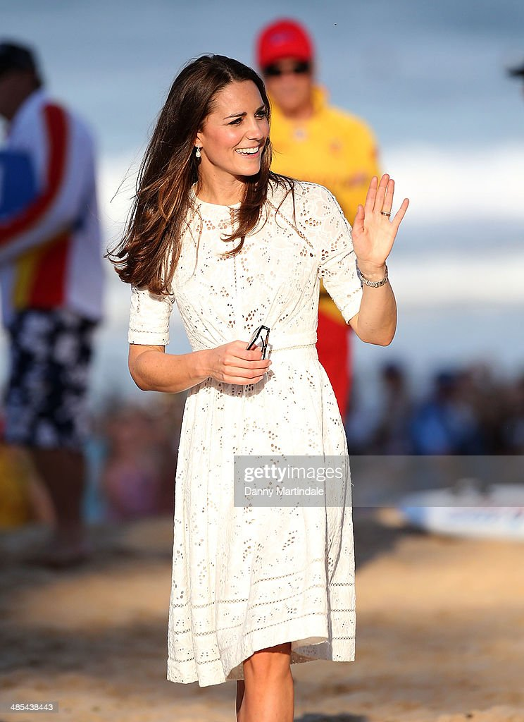 Catherine, Duchess of Cambridge visits Manly Beach on April 18, 2014 in Sydney, Australia. The Duke and Duchess of Cambridge are on a three-week tour of Australia and New Zealand, the first official trip overseas with their son, Prince George of Cambridge.