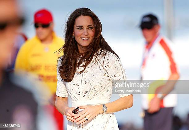Catherine Duchess of Cambridge visits Manly Beach on April 18 2014 in Sydney Australia The Duke and Duchess of Cambridge are on a threeweek tour of...