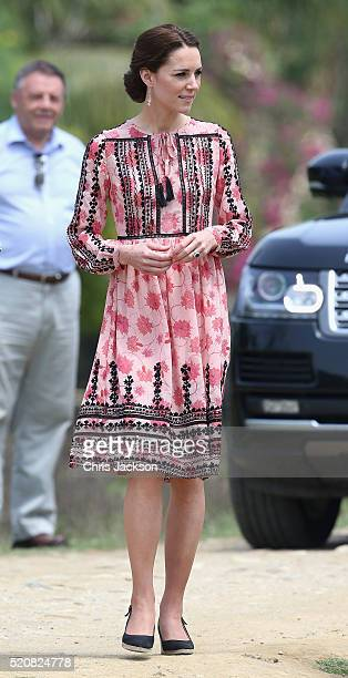 Catherine Duchess of Cambridge visits Pan Bari agricultural village in Kaziranga National Park on day 4 of the royal visit to India and Bhutan on...