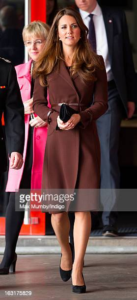 Catherine Duchess of Cambridge visits Peaks Lane Fire Station whilst carrying out a day of engagements on March 5 2013 in Grimsby England