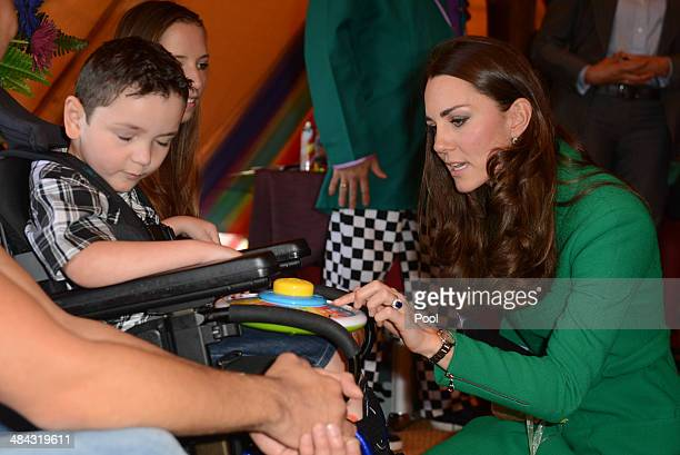 Catherine Duchess of Cambridge visits Rainbow Place Hospice on April 12 2014 in Hamilton New Zealand The Duke and Duchess of Cambridge are on a...