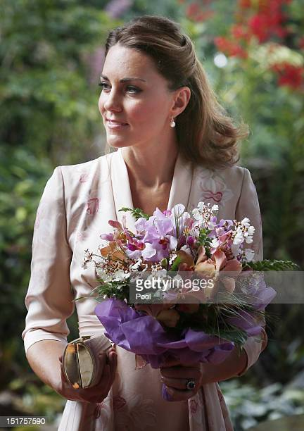 Catherine Duchess of Cambridge visits Singapore Botanical Gardens on day 1 of their Diamond Jubilee tour on September 11 2012 in Singapore Prince...