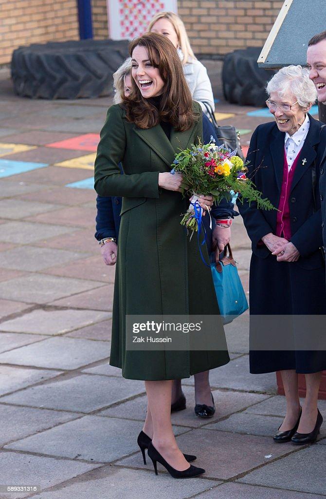 Catherine Duchess of Cambridge visits St Catherine's Primary School in Edinburgh Scotland