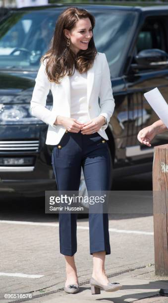 Catherine Duchess of Cambridge visits the 1851 Trust roadshow at Docklands Sailing and Watersports Centre on June 16 2017 in London England The...