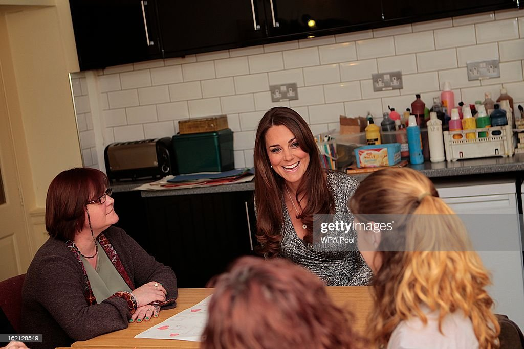 Catherine, Duchess of Cambridge visits the art therapy group at Hope House residential centre, run by Action on Addiction for recovering addicts on February 19, 2013 in London, England. The Duchess, who is patron of the centre spent over an hour talking to residents at the centre, on her first public engagement since early January.