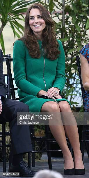 Catherine Duchess of Cambridge visits the Avanti Drome on April 12 2014 in Hamilton New Zealand The Duke and Duchess of Cambridge are on a threeweek...