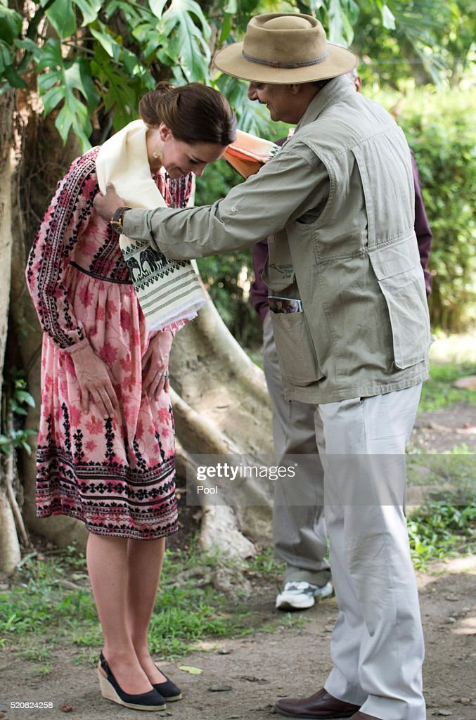 Catherine Duchess of Cambridge visits the Centre for Wildlife Rehabilitation and Conservation at Kaziranga National Park on April 13 2016 in Guwahati...