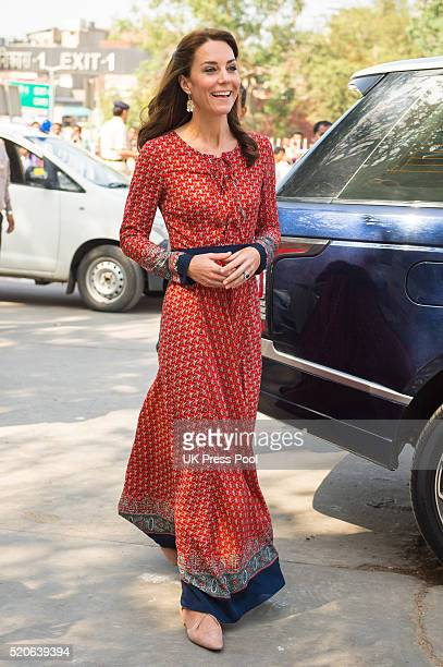 Catherine Duchess of Cambridge visits the contact centre run by the charity Salaam Baalak which provides emergency help and long term support to...